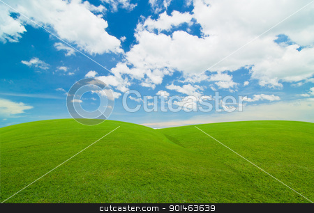 blue sky and green field stock photo, blue sky and green field by Komkrit Muangchan