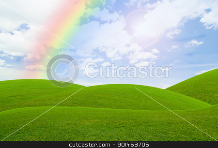 blue sky stock photo, green field under the blue sky by Komkrit Muangchan