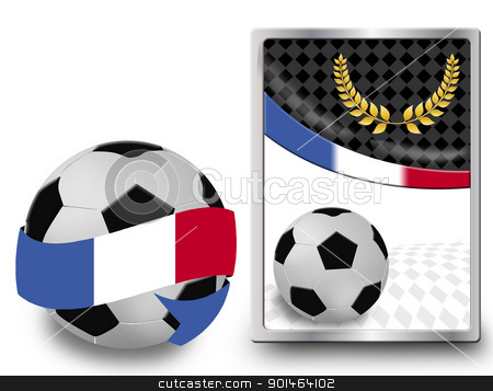 Soccer ball and web icon stock vector clipart, Soccer ball wrapped in ribbon with flag of France and web icon, vector illustration by radubalint