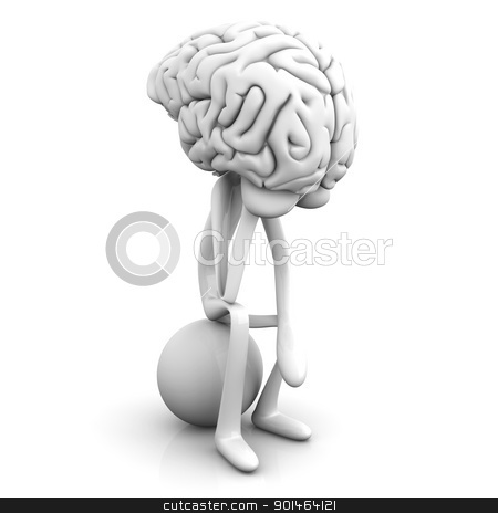 Thinker stock photo, A cartoon figure con a huge brain. 3D rendered illustration. Isolated on white. by Michael Osterrieder