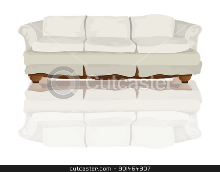Couch stock vector clipart, Couch or sofa and reflection drawing over white background by Richard Laschon