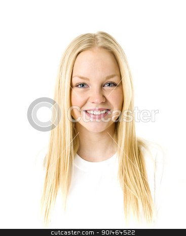 Blond woman stock photo, Portrait of a blond woman isolated on white background by Anne-Louise Quarfoth