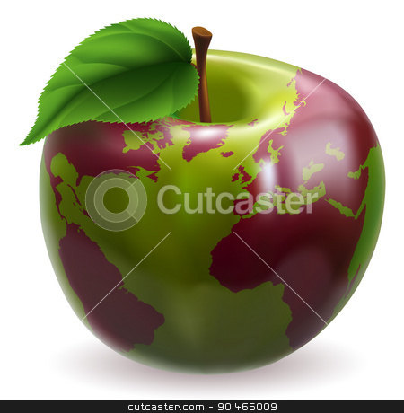 Apple world globe stock vector clipart, Conceptual illustration of an apple with color on skin forming the world globe by Christos Georghiou