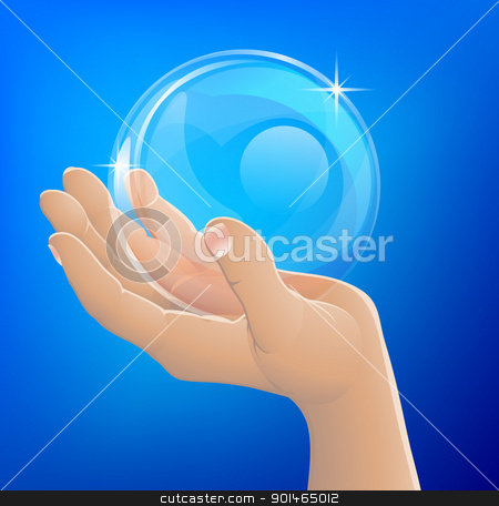 Hand holding bubble or glass ball stock vector clipart, An illustration of a hand holding a bubble or crystal ball by Christos Georghiou
