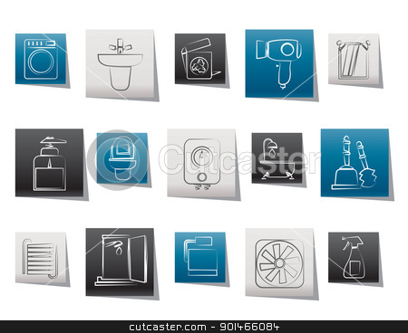Bathroom And Toilet Objects And Icons Stock Vector Fascinating Bathroom Clipart Creative