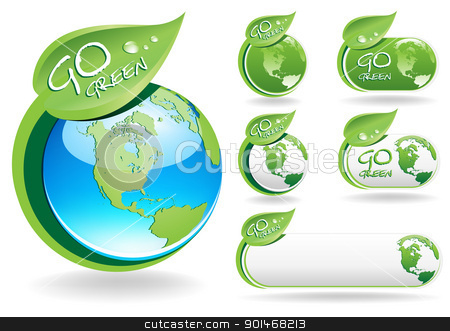Go Green stock vector clipart, This image is a vector file representing a collection of