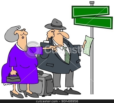 Lost Elderly Couple stock photo, This illustration depicts an elderly man and woman who are lost and standing by a street sign. by Dennis Cox