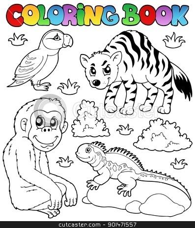 Coloring book zoo animals set 2 stock vector clipart, Coloring book zoo animals set 2 - vector illustration. by Klara Viskova