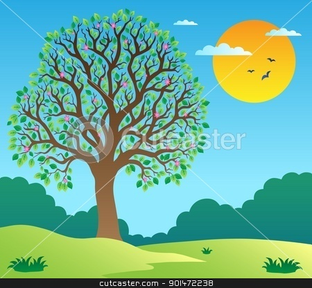 Scenery with leafy tree 1 stock vector clipart, Scenery with leafy tree 1 - vector illustration. by Klara Viskova