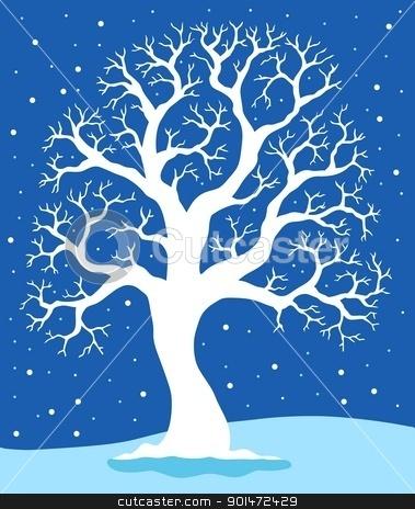 White tree on blue background 1 stock vector clipart, White tree on blue background 1 - vector illustration. by Klara Viskova