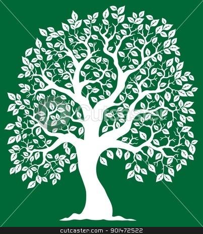 White tree on green background 2 stock vector clipart, White tree on green background 2 - vector illustration. by Klara Viskova