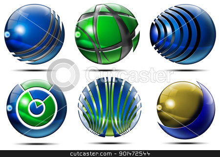 Business Sphere Logo stock photo, Six Spheres, set of elements for logo design  by catalby
