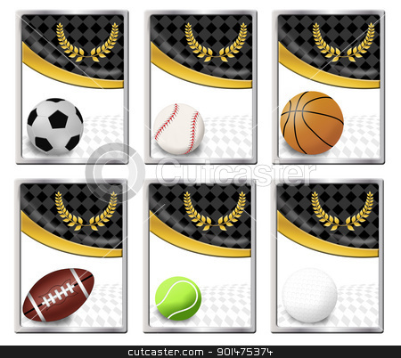 Sports balls stock vector clipart, Set of sports balls banners or web icon, vector illustration by radubalint