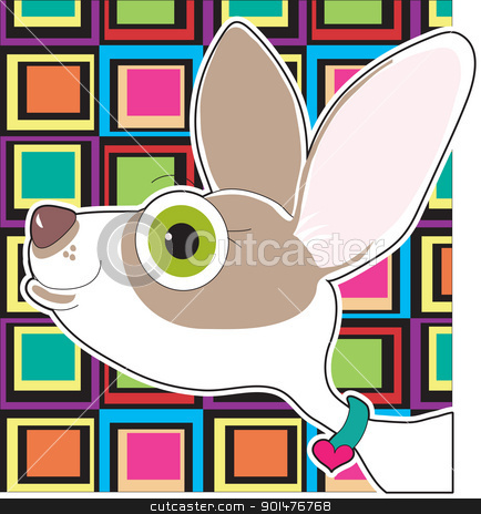 Chihuahua Portrait stock vector clipart, An  illustrated portrait of a pet Chihuahua, set on a colorful background. by Maria Bell