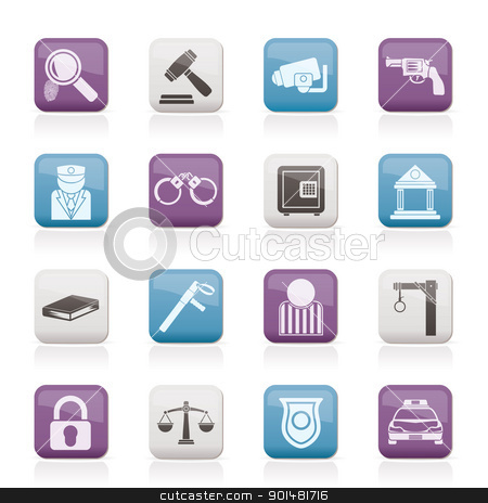 Law, Police and Crime icons  stock vector clipart, Law, Police and Crime icons - vector icon set  by Stoyan Haytov