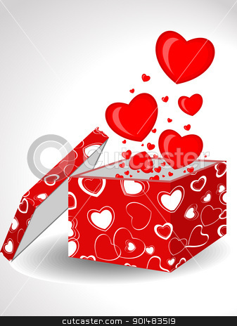 Abstract, Heart shapes coming out form open gift box. Vector Ill stock vector clipart, Heart shapes coming out form open gift box decorated with abstract heart shape cover in red color on isolated background for Valentines Day. by Abdul Qaiyoom