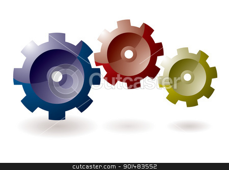 Gear cog icon stock vector clipart, Gear cog concept for icon symbol with shadow by Michael Travers