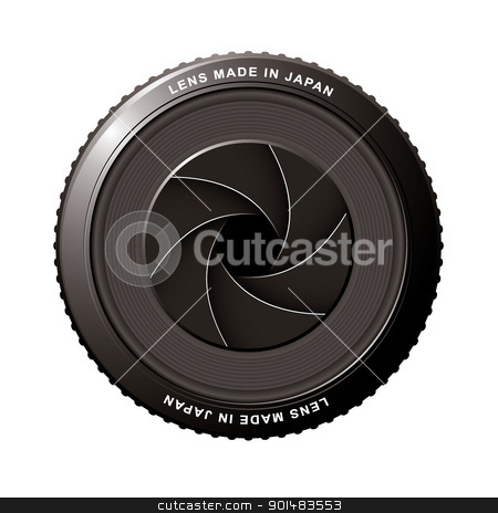 Lens shutter stock vector clipart, Camera lens with black shutter blades and aperture by Michael Travers