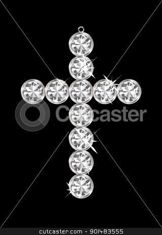 Diamond pendant cross stock vector clipart, Silver diamond cross relgious pendant with black background by Michael Travers