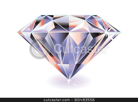 Diamond bright stock vector clipart, Artistic brightly coloured cut diamond with shadow and reflection by Michael Travers