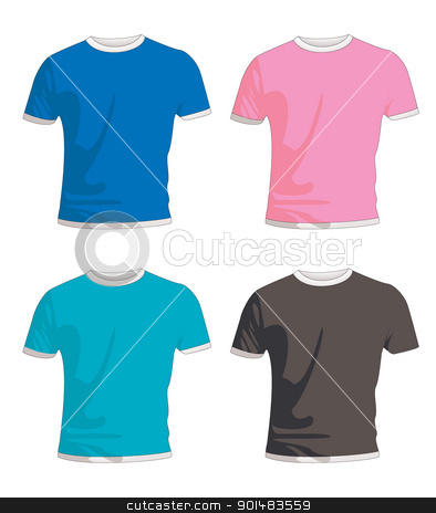 Mens t shirt coloured stock vector clipart, Collection of four mens fashion t shirts in colour by Michael Travers