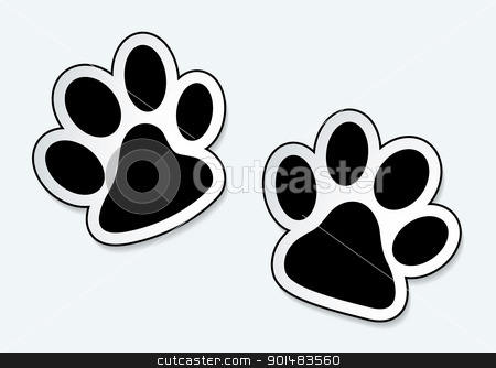 Pet paw prints stock vector clipart, Animal paw prints icons with shadow effect by Michael Travers