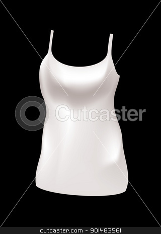 Womans vest top stock vector clipart, Plain white female vest top with black background by Michael Travers