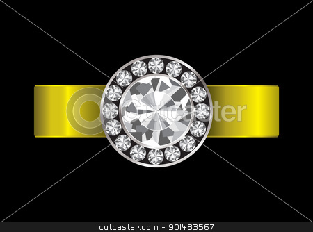 Engagement ring diamond stock vector clipart, Gold ring inset with white clear diamonds and golden band by Michael Travers