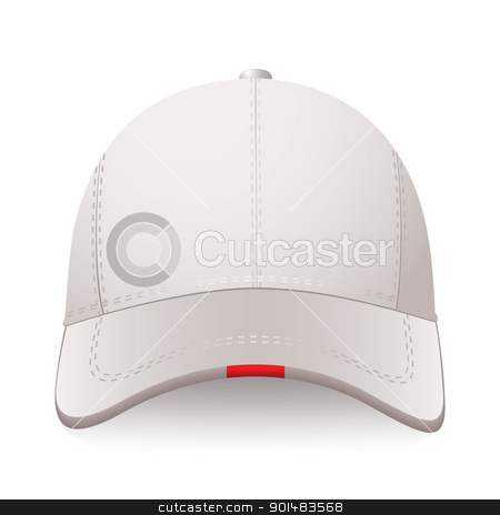 Sports cap stock vector clipart, White sports cap with red label and room for your text by Michael Travers