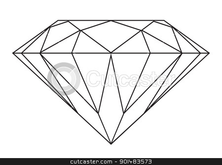 Diamond outline stock vector clipart, Simple black and white diamond outline icon or symbol by Michael Travers