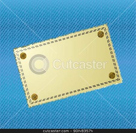 Cloth label Background stock vector clipart, Blue jean material background with yellow canvas label by Michael Travers