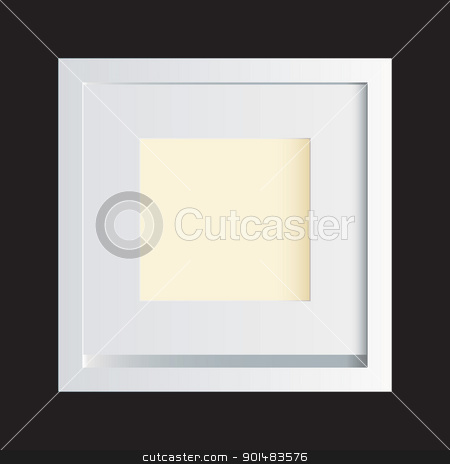 White photo frame black stock vector clipart, Classic white photo frame with solid black background by Michael Travers