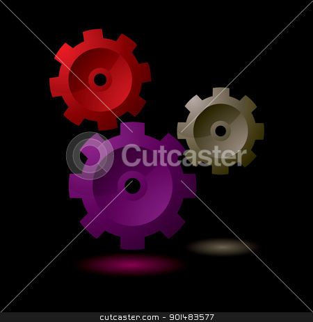Gear cog symbol stock vector clipart, Simple gear cog symbol collection with black background by Michael Travers