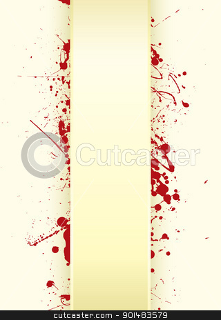 Paper tab splat stock vector clipart, Grunge paper background with curved tab and blood splat by Michael Travers