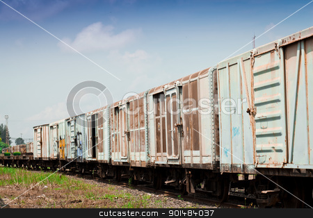 Thai railroad container  stock photo, Thai railroad container at a railway station in rural of Thailand. by Yuttasak Jannarong