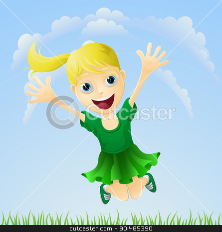 Young happy girl jumping stock vector clipart, Illustration of a young girl happily jumping the air with arms outstretched. by Christos Georghiou