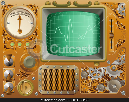 Industrial Steampunk media player stock vector clipart, Industrial Victorian style grunge Steampunk media player illustration by Christos Georghiou