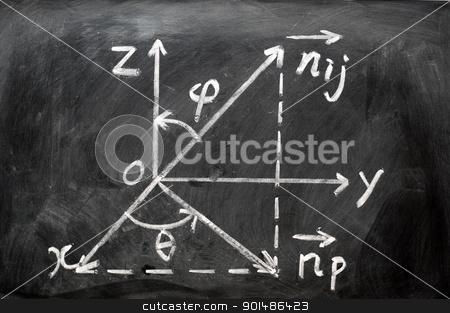 Maths formulas written on blackboard stock photo, Maths formulas written in chalk on blackboard by John Young