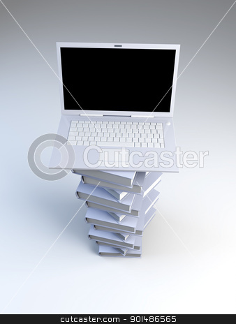Digital Books	 stock photo, A Laptop with books. 3D rendered illustration.   by Michael Osterrieder