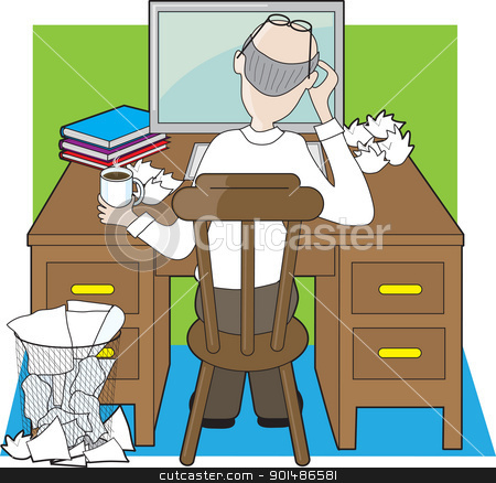 Deskwork stock vector clipart, An office worker, or writer working at a wooden desk, seems to be frustrated by his progress. by Maria Bell