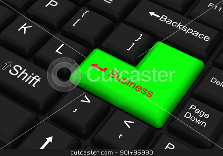 Computer keyboard  With green business key	 stock photo, Computer keyboard  With green business key	 by dileep