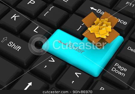 Folder with enter key stock photo, Folder with enter key by dileep