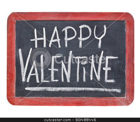 Happy Valentine on blackboard stock photo, Happy Valentine - white chalk handwriting on a small slate retro blackboard by Marek Uliasz