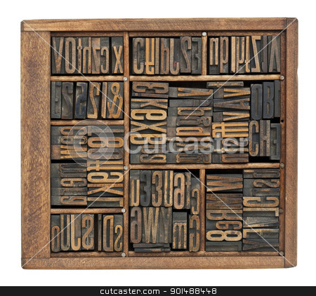 antique letters, numbers and ligature stock photo, vintage wood letterpress printing blocks abstract with variety of  letters, numbers, ligature (condensed gothic font) in old box by Marek Uliasz