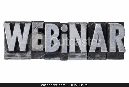 webinar - internet education concept stock photo, webinar - internet education concept - isolated word in grunge vintage metal letterpress printing blocks by Marek Uliasz