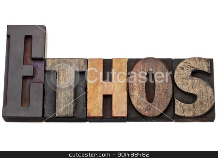 ethos word - culture concept  stock photo, ethos - culture concept - isolated text in vintage wood letterpress printing blocks, stained by color inks by Marek Uliasz