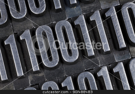 binary numbers abstract stock photo, zero and one - binary numbers abstract - old grunge metal printing blocks by Marek Uliasz