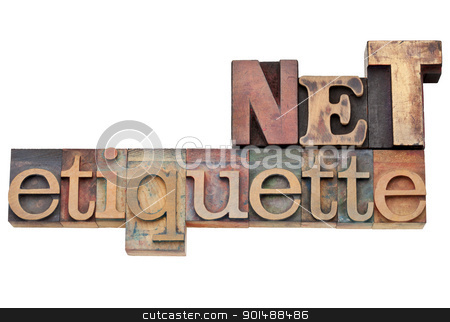 net etiquette - internet concept stock photo, net etiquette - internet community concept   - isolated text in vintage wood letterpress type, stained by color inks by Marek Uliasz