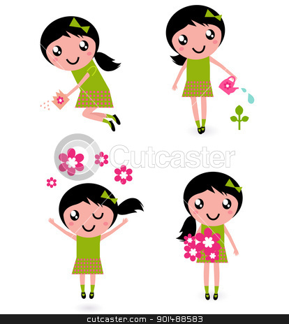 Cute little girl with spring Flowers isolated on white stock vector clipart, Cute little girl with spring Flowers isolated on white  by BEEANDGLOW