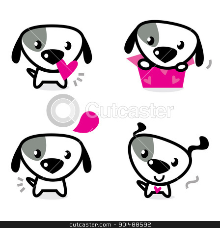 Cute valentine dogs set isolated on white stock vector clipart, Cute dog collection - little dogs with pink hearts. Vector Illustration. by BEEANDGLOW